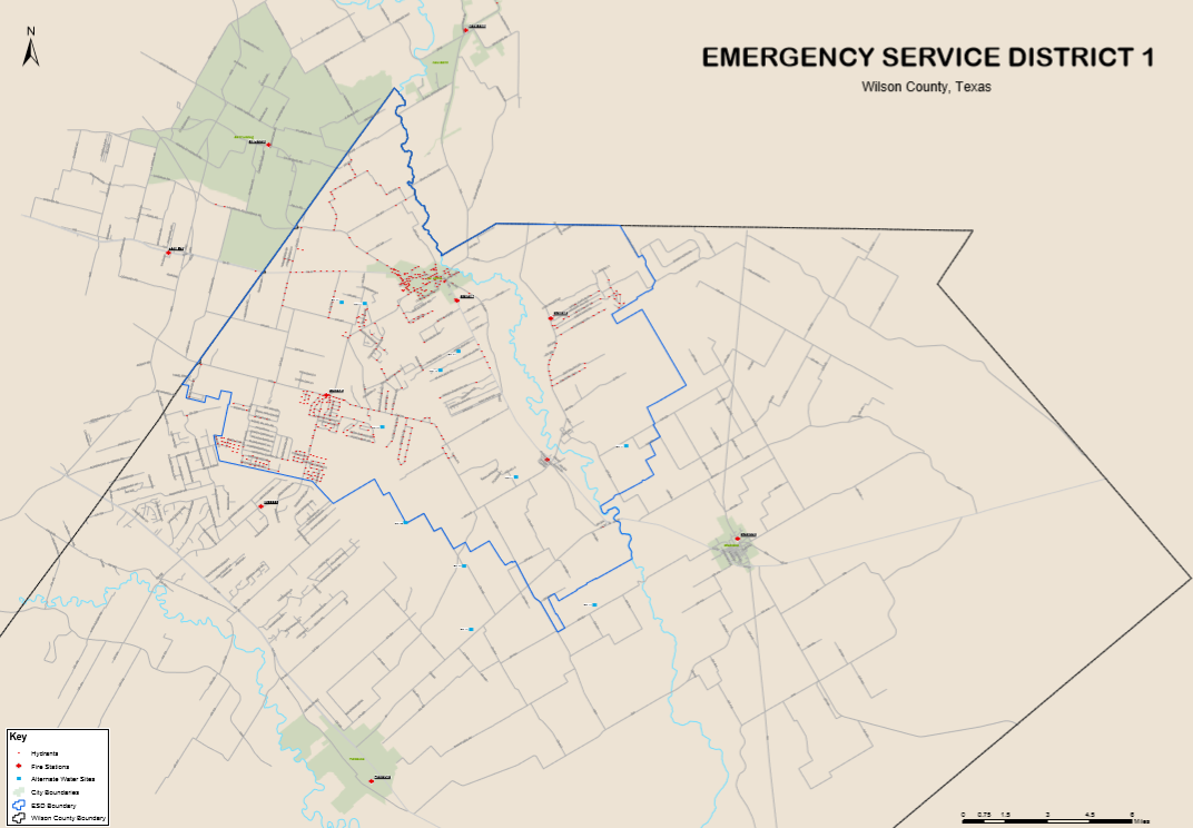 Wilson County Emergency Services District 1 First Due Coverage Area Map